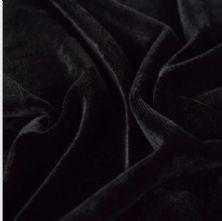 Black Stretch Spandex Velvet Fabric 145cm Wide
